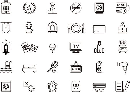 breakfast in bed: Set of HOTEL outlined icons