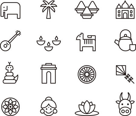 icons set: Set of INDIA outlined icons