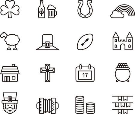shamrock: Set of IRELAND outlined icons Illustration