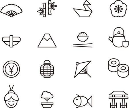 japonais: Set de JAPON décrites icônes