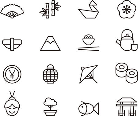 japanese fan: Set of JAPAN outlined icons