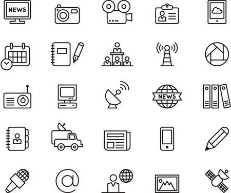 Set di Giornalismo e MEDIA delineato icone Vettoriali