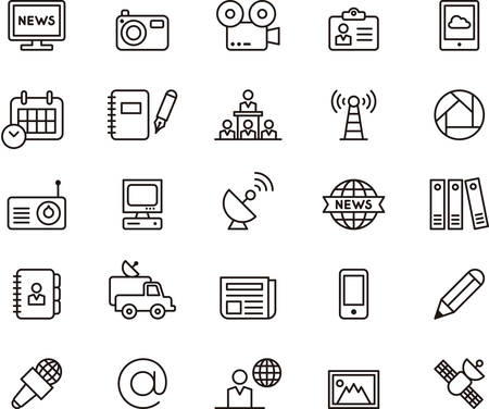 notebook icon: Set of JOURNALISM and MEDIA outlined icons