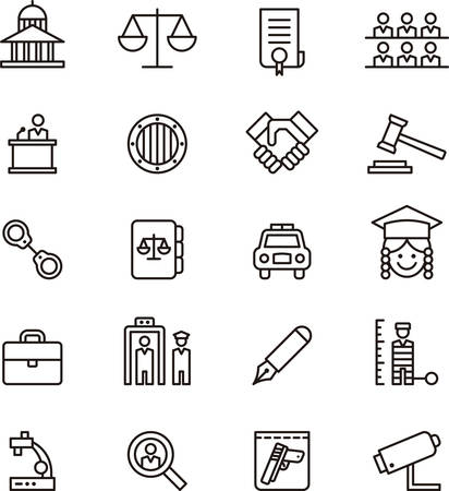 courtroom: Set of JUSTICE and LAW outlined icons