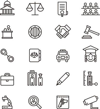 Ustaw sprawiedliwości i prawa opisane ikony Ilustracje wektorowe