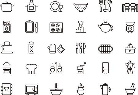 Satz von Küche umrissen Symbole Standard-Bild - 43266529