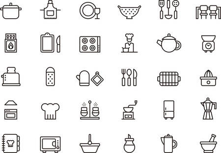chef: Set of KITCHEN outlined icons