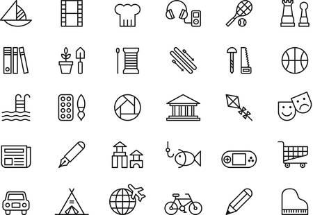 Ensemble d'icônes exposées liées aux loisirs Banque d'images - 43266785