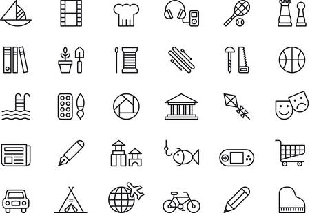 at leisure: Set of outlined icons related to LEISURE