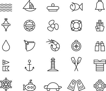 海洋と航海に関連する輪郭を描かれたアイコンのセット