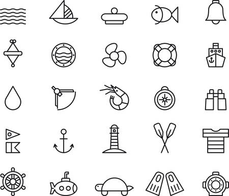 Set of outlined icons related to MARINE and NAUTICAL