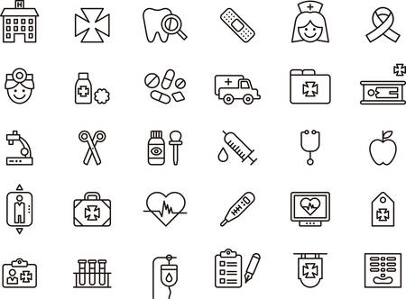 Set of outlined icons related to MEDICAL and HOSPITAL