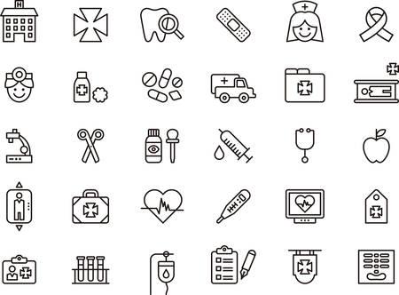 paciente en camilla: Conjunto de iconos descritos relacionados con médicos y hospitalarios Vectores