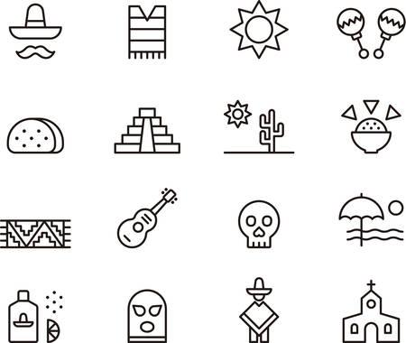 cultura maya: Conjunto de iconos relacionados con esbozados MÉXICO
