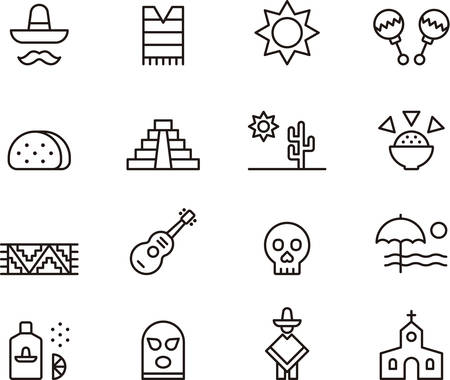 pyramid of the sun: Set of outlined icons related to MEXICO