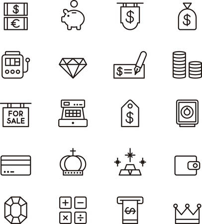 Set of outlined icons related to MONEY Illustration