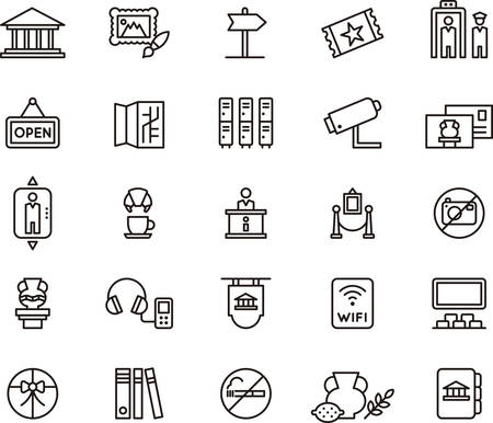 Set of outlined icons related to MUSEUM and ART