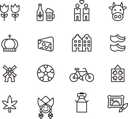 dutch girl: Set of outlined icons related to NETHERLANDS