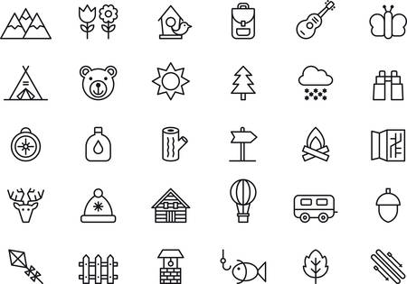 spring summer: Set of outlined icons related to NATURE, MOUNTAIN, CAMPING, HIKING and OUTDOOR ACTIVITIES