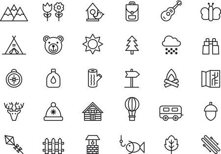 Set van geschetst pictogrammen met betrekking tot natuur, berg, kamperen, wandelen en outdoor activiteiten