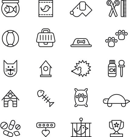 Set of outlined icons related to PETS
