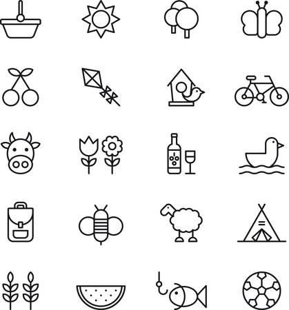 papalote: Conjunto de iconos relacionados con esbozados PICNIC y PRIMAVERA