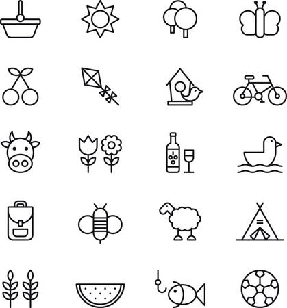 fruits in a basket: Set of outlined icons related to PICNIC and SPRING
