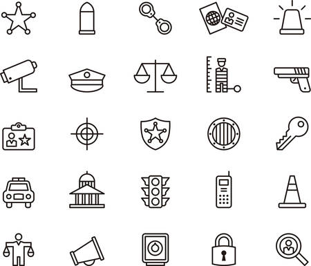 Set of outlined icons related to POLICE and SECURITY Vettoriali