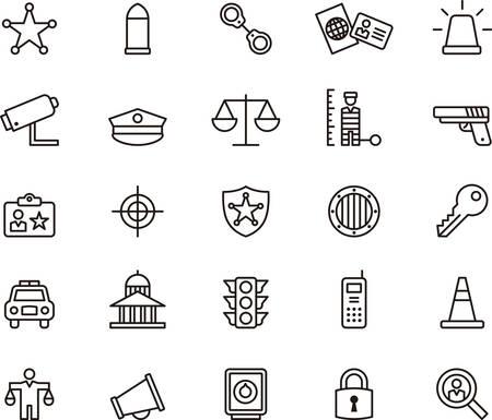 Set van geschetst pictogrammen in verband met politie en veiligheidsdiensten