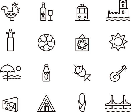 port wine: Set of outlined icons related to PORTUGAL