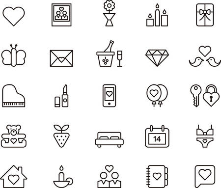 diamond candle: Set of outlined icons related to VALENTINES and LOVE