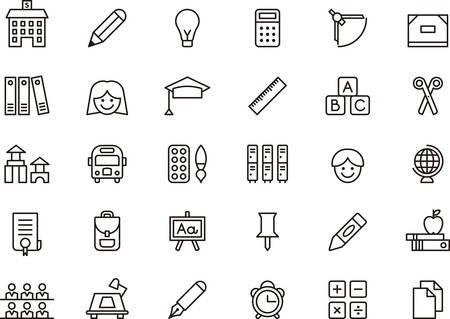 Sada uvedených ikon souvisejících s škole a vzdělání