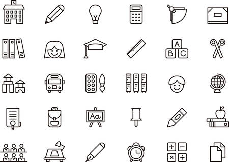 college building: Set of outlined icons related to SCHOOL and EDUCATION