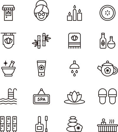 body line: Set of outlined icons related to SPA and WELLNESS