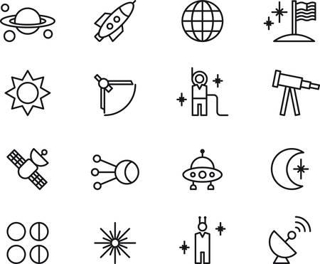 공간과 천문학에 관한 설명 아이콘의 집합 일러스트