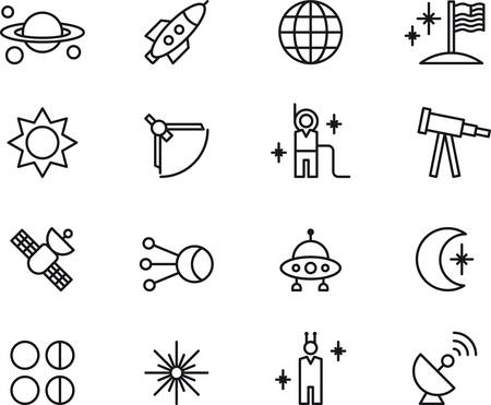 Set of outlined icons related to SPACE and ASTRONOMY Vettoriali