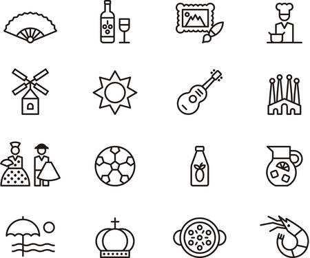 madrid spain: Set of outlined icons related to SPAIN