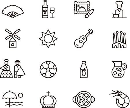 Set van geschetst pictogrammen met betrekking tot Spanje