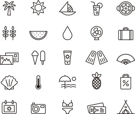 watermelon boat: Set of outlined icons related to SUMMER, BEACH and VACATION.
