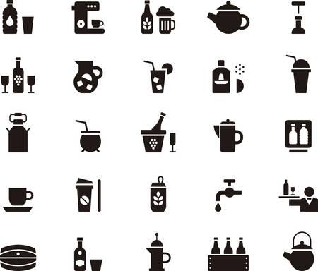 black pictogram: DRINKS & BEVERAGES icons Illustration