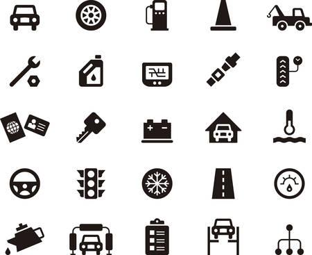 iconos taller mecánico Ilustración de vector