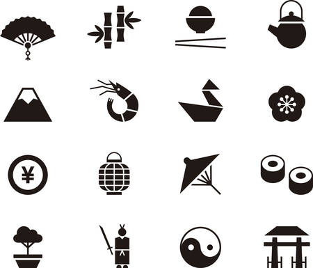 food icons: JAPAN icons