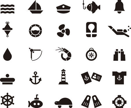 and marine life: NAUTICAL MARINE & icons