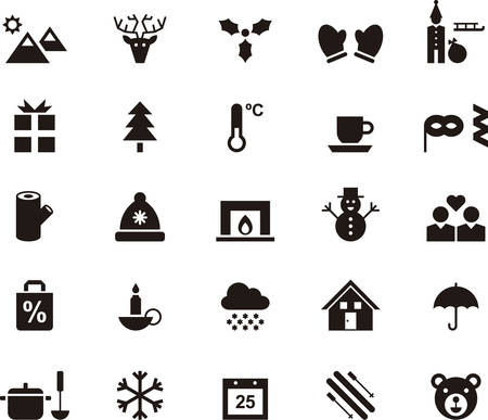 ski lodge: WINTER icons Illustration