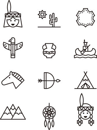 native american man: NATIVE AMERICANS outline icons