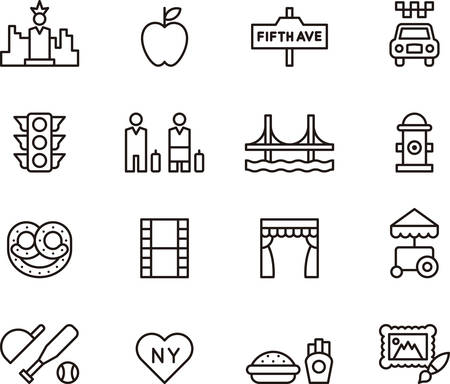 new icon: NEW YORK outline icons