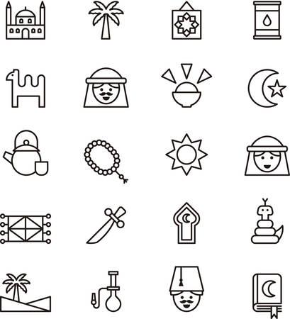 ARAB CULTURE outline icons Illustration