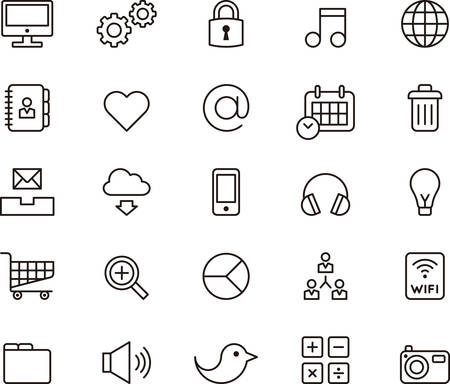 SEO & SOCIAL NETWORK outline icons