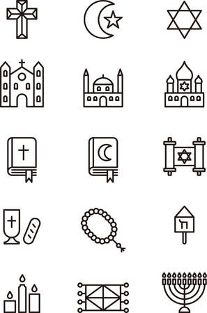 hebrew bibles: RELIGIONS outline icons Illustration