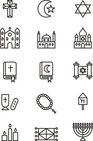 candelabrum: RELIGIONS outline icons Illustration